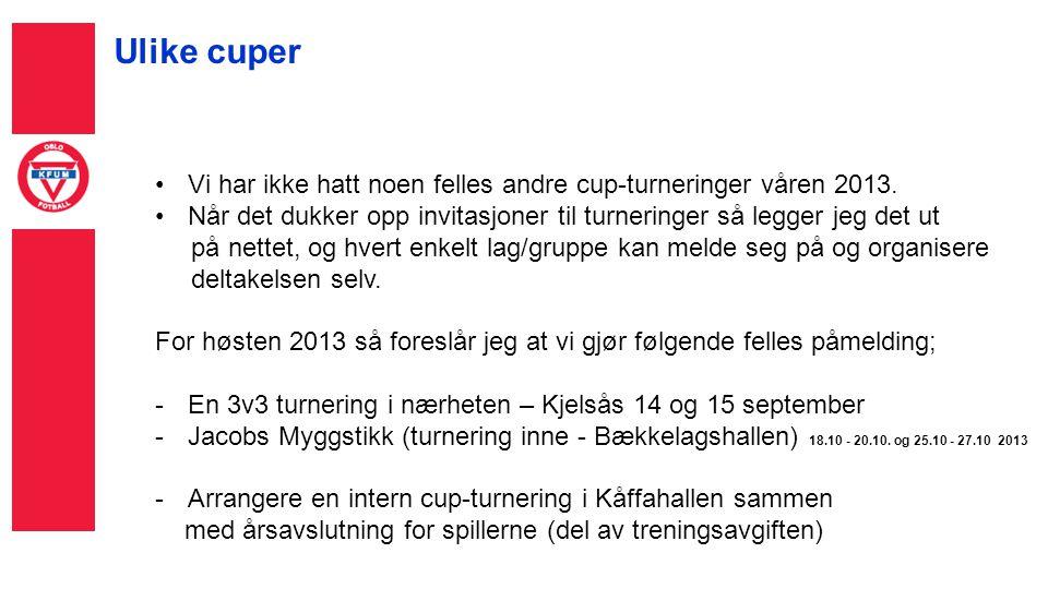 Ulike cuper •Vi har ikke hatt noen felles andre cup-turneringer våren 2013.