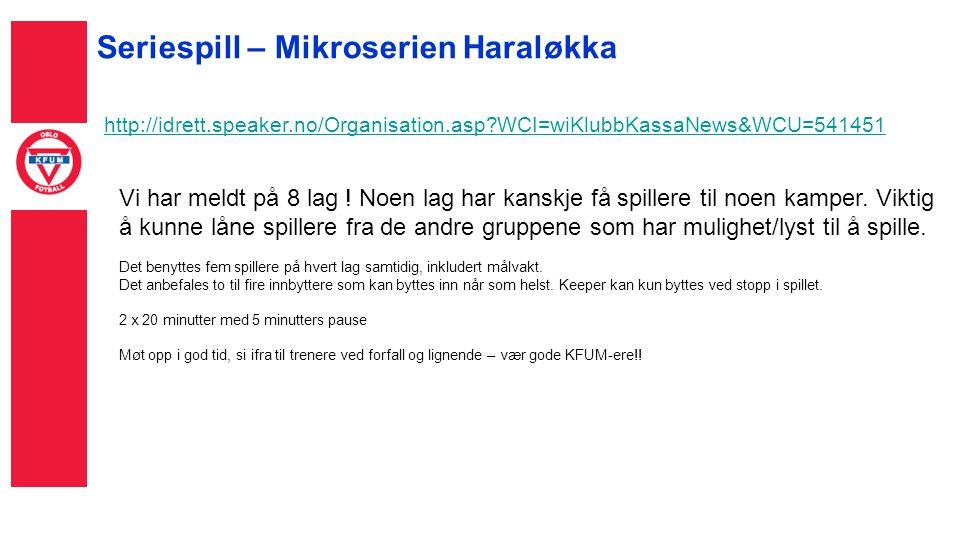 Seriespill – Mikroserien Haraløkka http://idrett.speaker.no/Organisation.asp WCI=wiKlubbKassaNews&WCU=541451 Vi har meldt på 8 lag .