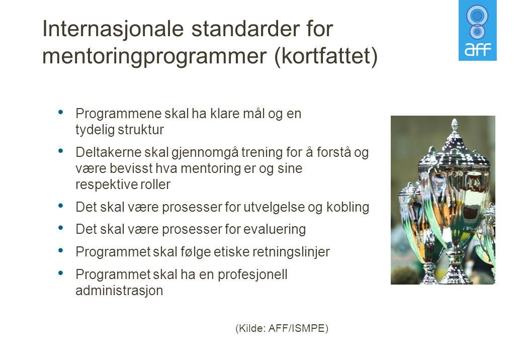 Internasjonale standarder for mentoringprogrammer (kortfattet) • Programmene skal ha klare mål og en tydelig struktur • Deltakerne skal gjennomgå tren