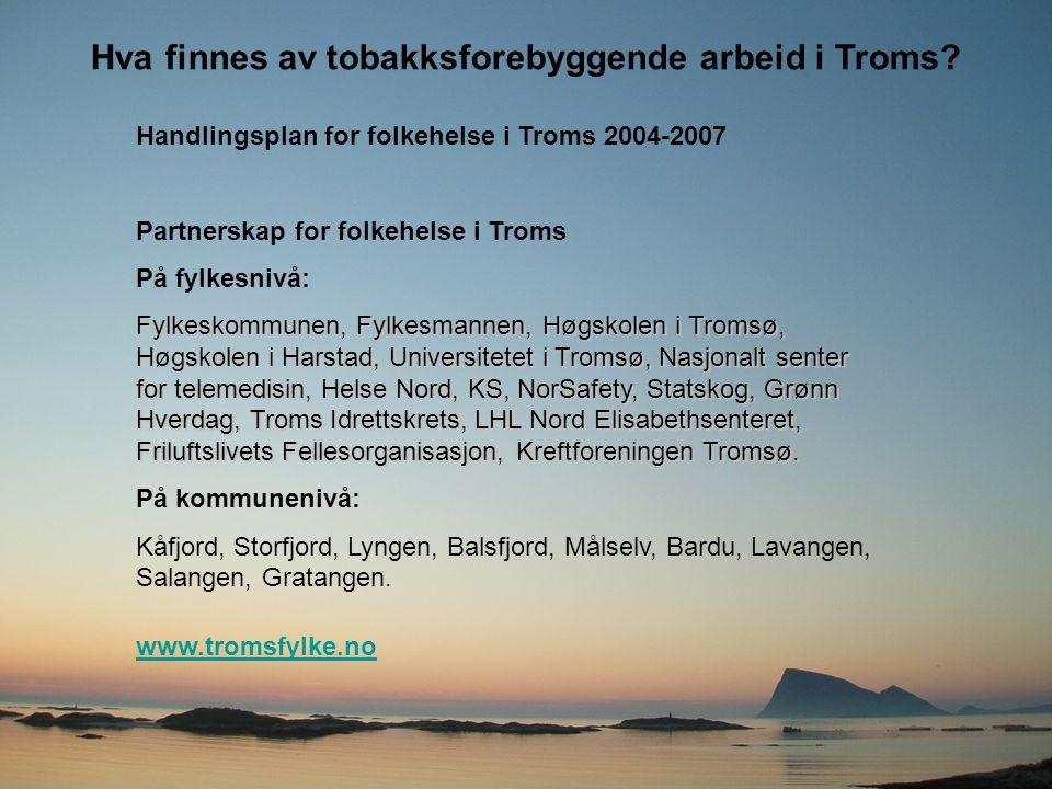Hva finnes av tobakksforebyggende arbeid i Troms? Handlingsplan for folkehelse i Troms 2004-2007 Partnerskap for folkehelse i Troms På fylkesnivå: Fyl