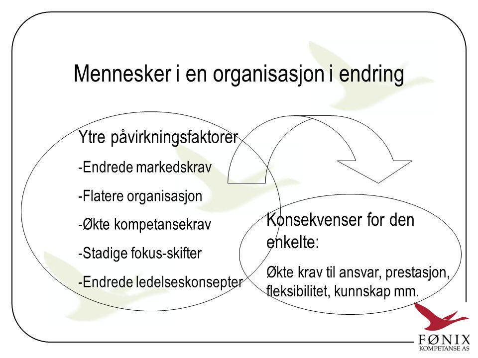 Mennesker i en organisasjon i endring Ytre påvirkningsfaktorer -Endrede markedskrav -Flatere organisasjon -Økte kompetansekrav -Stadige fokus-skifter