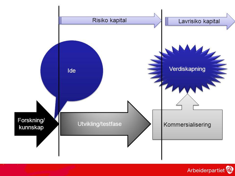 Forskning/ kunnskap Ide Utvikling/testfase Kommersialisering Verdiskapning Risiko kapital Lavrisiko kapital