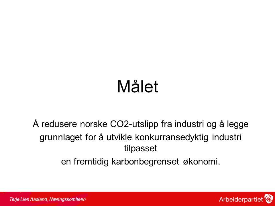 Målet Å redusere norske CO2-utslipp fra industri og å legge grunnlaget for å utvikle konkurransedyktig industri tilpasset en fremtidig karbonbegrenset økonomi.