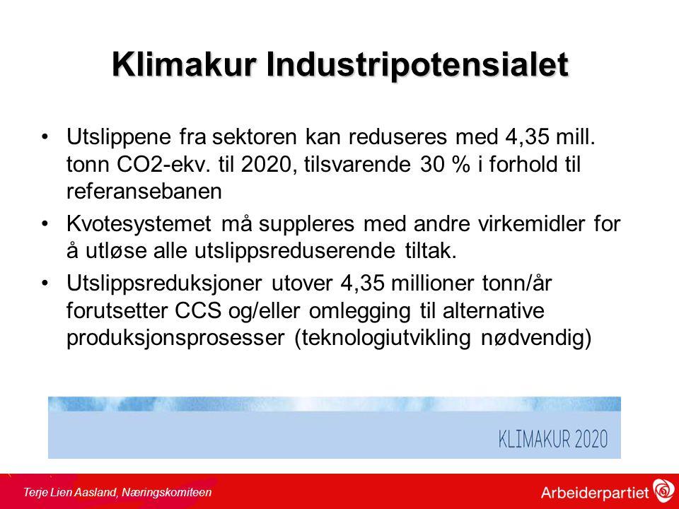 Klimakur Industripotensialet •Utslippene fra sektoren kan reduseres med 4,35 mill.