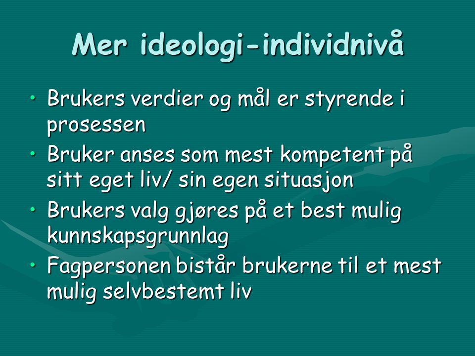 Ideologi •Brukermedvirkning er en menneskerettighet •Brukermedvirkning er en demokratisk rettighet •Brukerens eller brukernes medvirkning gjør oftest