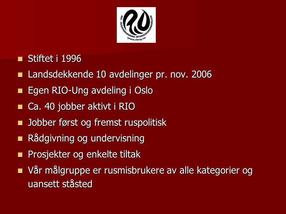  Stiftet i 1996  Landsdekkende 10 avdelinger pr.