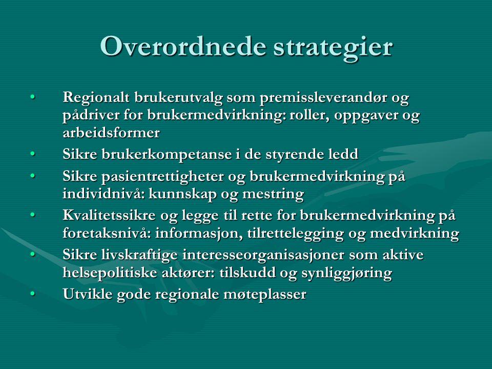 Mål og strategier •Regionalt brukerutvalg har en ambisjon om at Helse Nord RHF sammen med brukerorganisasjonene og samarbeidspartnerne i spesialisthel
