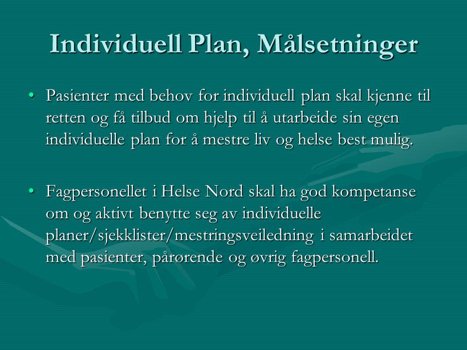 Individuell brukermedvirkning Målsetninger •Pasientene i Helse Nord må sikres god innsikt i egen situasjon og eget behov. Dette vil danne et godt grun