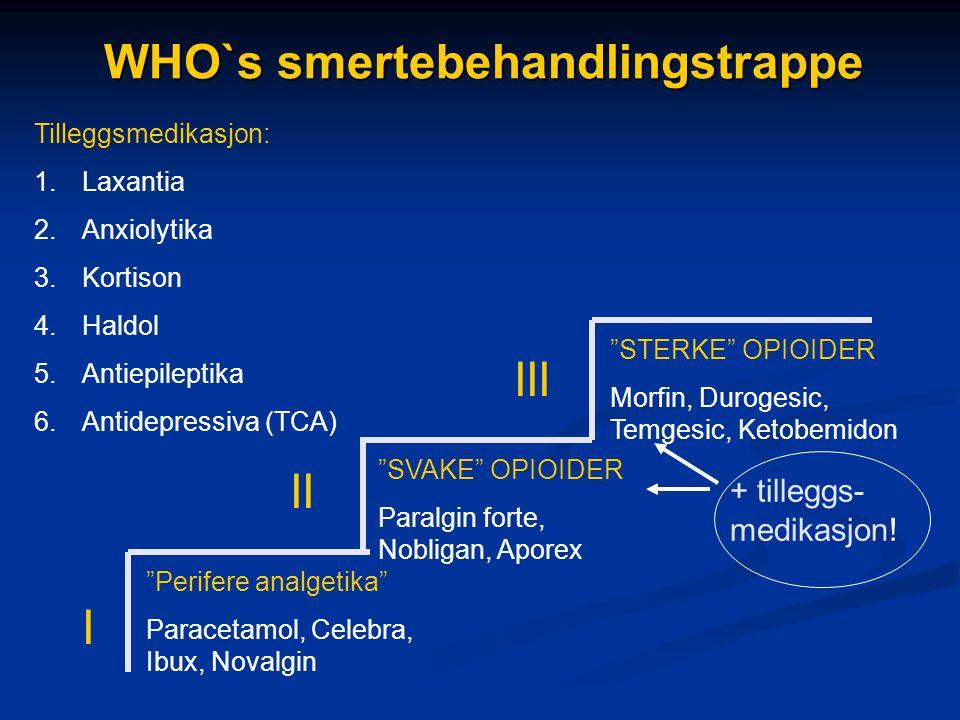 "WHO`s smertebehandlingstrappe ""Perifere analgetika"" Paracetamol, Celebra, Ibux, Novalgin ""SVAKE"" OPIOIDER Paralgin forte, Nobligan, Aporex ""STERKE"" OP"
