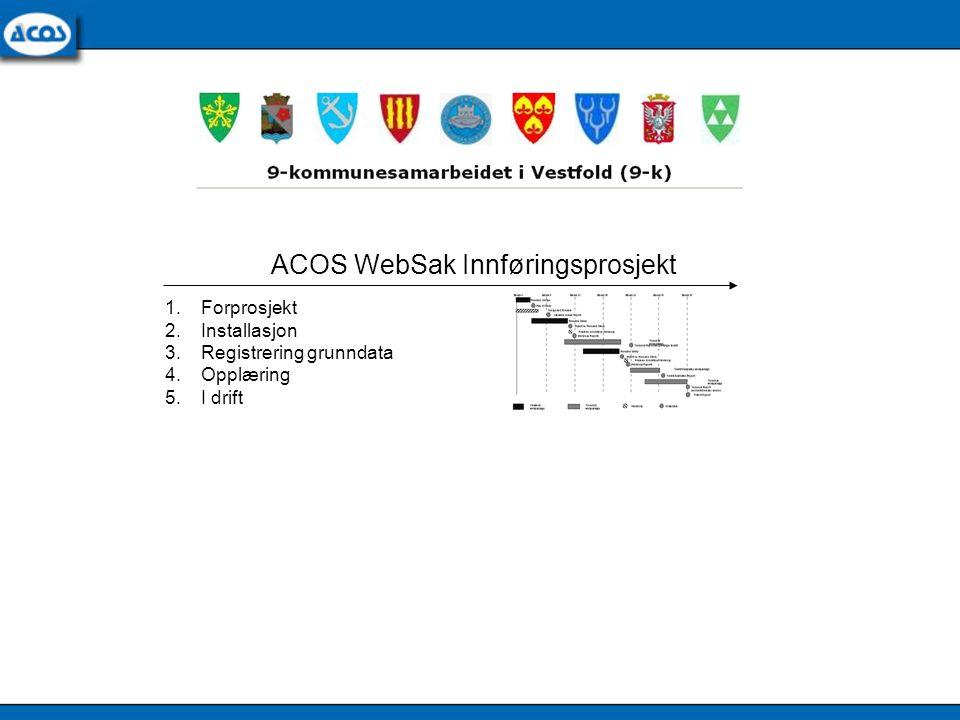 1.Forprosjekt 2.Installasjon 3.Registrering grunndata 4.Opplæring 5.I drift ACOS WebSak Innføringsprosjekt