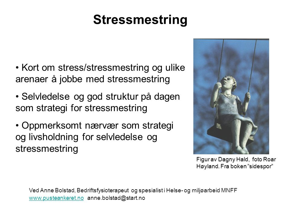 Stress og Stressmestring •Kan være både arbeidsrelatert, og relatert til private og individuelle forhold •Enkle prinsipper/hverdagspsykologi og selvfølgeligheter satt i system, men samtidig så komplekst…….