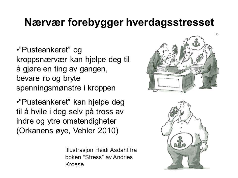 """Nærvær forebygger hverdagsstresset Illustrasjon Heidi Asdahl fra boken """"Stress"""" av Andries Kroese •""""Pusteankeret"""" og kroppsnærvær kan hjelpe deg til å"""