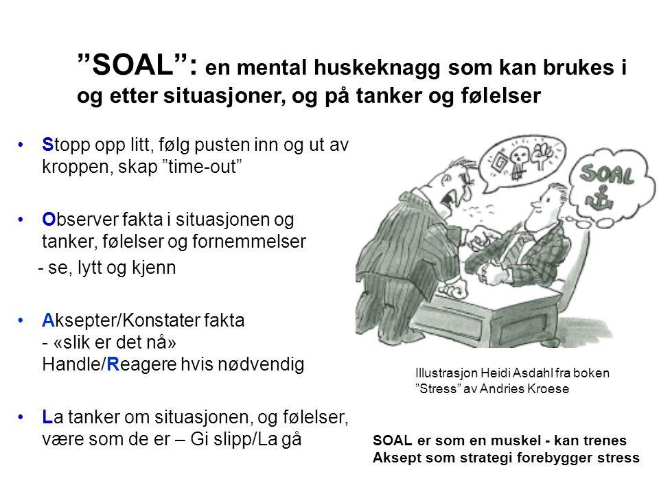 """""""SOAL"""": en mental huskeknagg som kan brukes i og etter situasjoner, og på tanker og følelser •Stopp opp litt, følg pusten inn og ut av kroppen, skap """""""