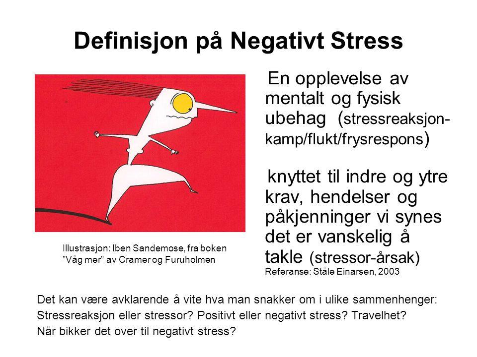 Definisjon på Negativt Stress En opplevelse av mentalt og fysisk ubehag ( stressreaksjon- kamp/flukt/frysrespons ) knyttet til indre og ytre krav, hen