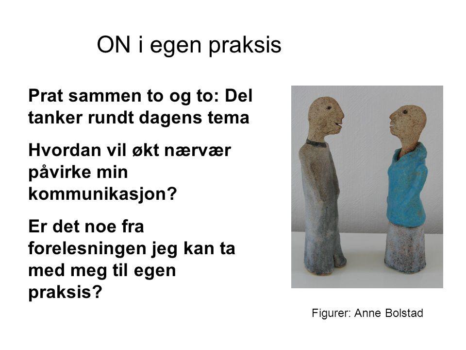 Figurer: Anne Bolstad ON i egen praksis Prat sammen to og to: Del tanker rundt dagens tema Hvordan vil økt nærvær påvirke min kommunikasjon? Er det no