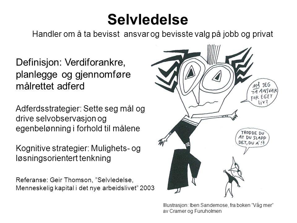 Selvledelsesprosessen Referanse: Geir Thomson, Selvledelse, Menneskelig kapital i det nye arbeidlivet 2004 1.