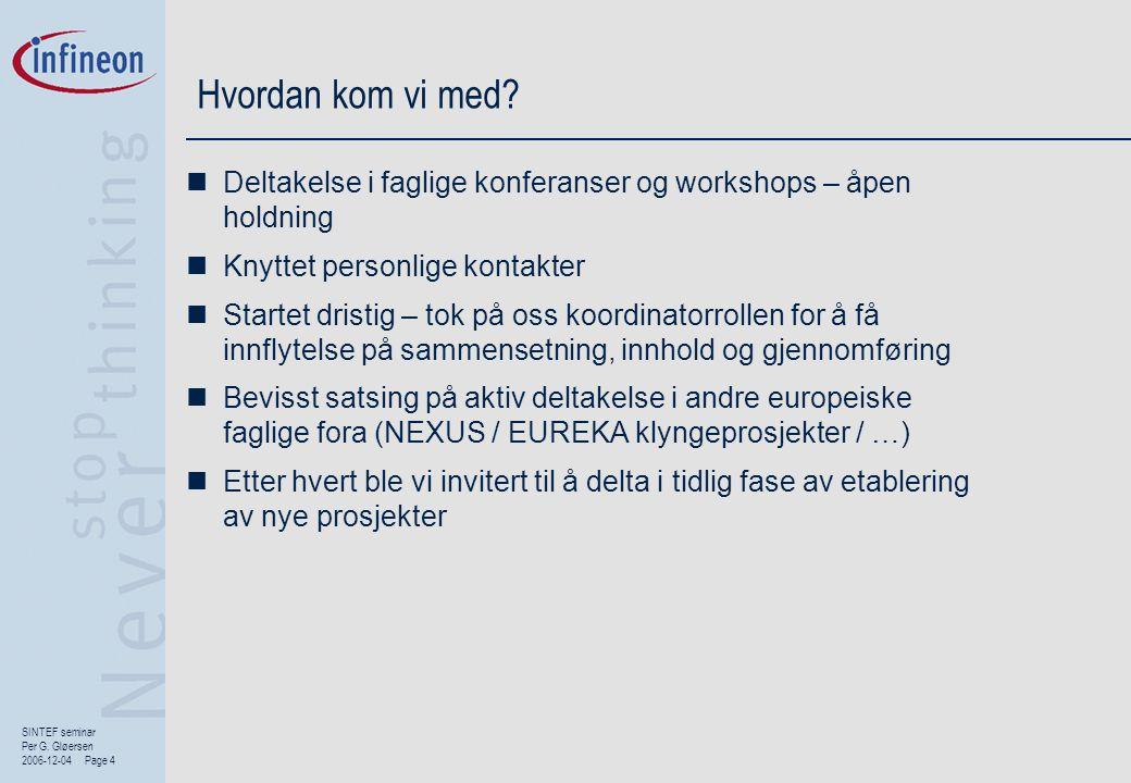 SINTEF seminar Per G. Gløersen 2006-12-04 Page 4 Hvordan kom vi med?  Deltakelse i faglige konferanser og workshops – åpen holdning  Knyttet personl