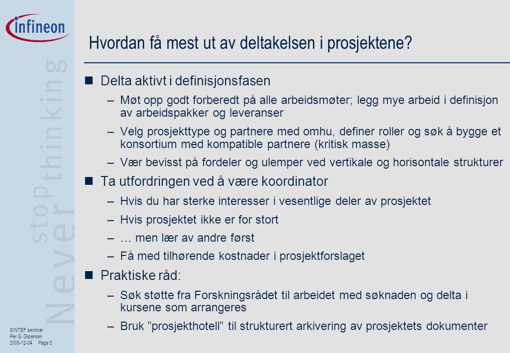SINTEF seminar Per G. Gløersen 2006-12-04 Page 5 Hvordan få mest ut av deltakelsen i prosjektene?  Delta aktivt i definisjonsfasen –Møt opp godt forb