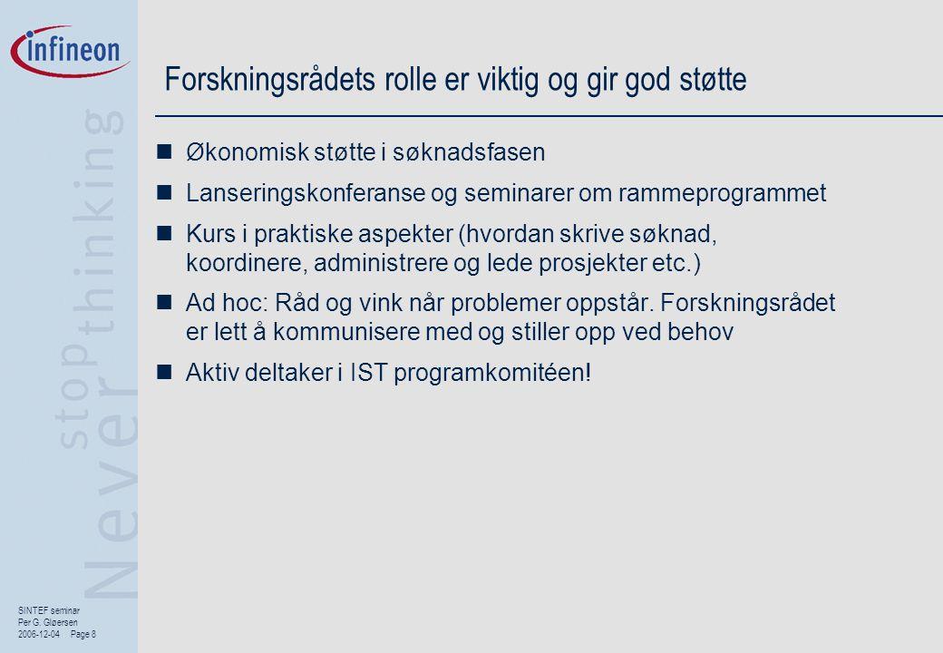 SINTEF seminar Per G. Gløersen 2006-12-04 Page 8 Forskningsrådets rolle er viktig og gir god støtte  Økonomisk støtte i søknadsfasen  Lanseringskonf