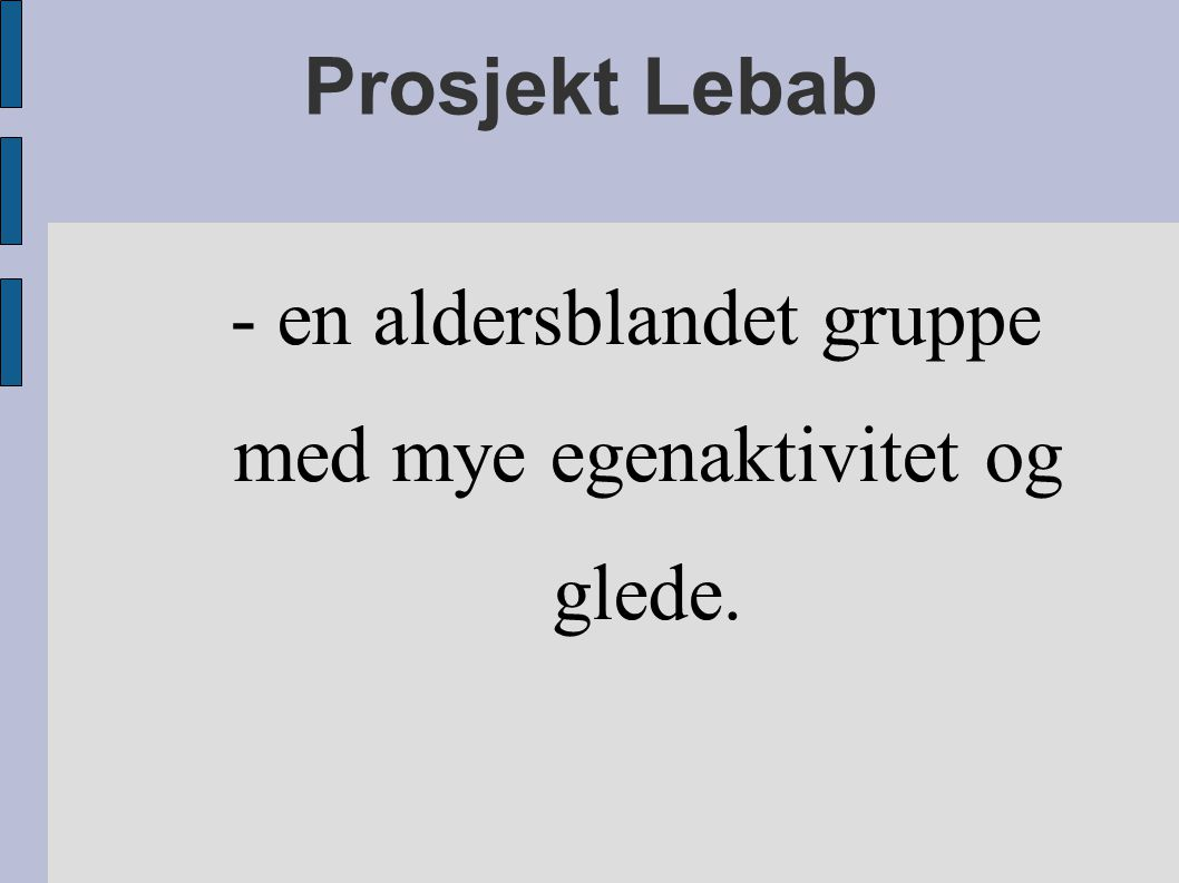 Prosjekt Lebab - en aldersblandet gruppe med mye egenaktivitet og glede.