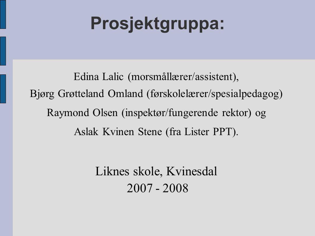 Prosjektgruppa: Edina Lalic (morsmållærer/assistent), Bjørg Grøtteland Omland (førskolelærer/spesialpedagog) Raymond Olsen (inspektør/fungerende rekto