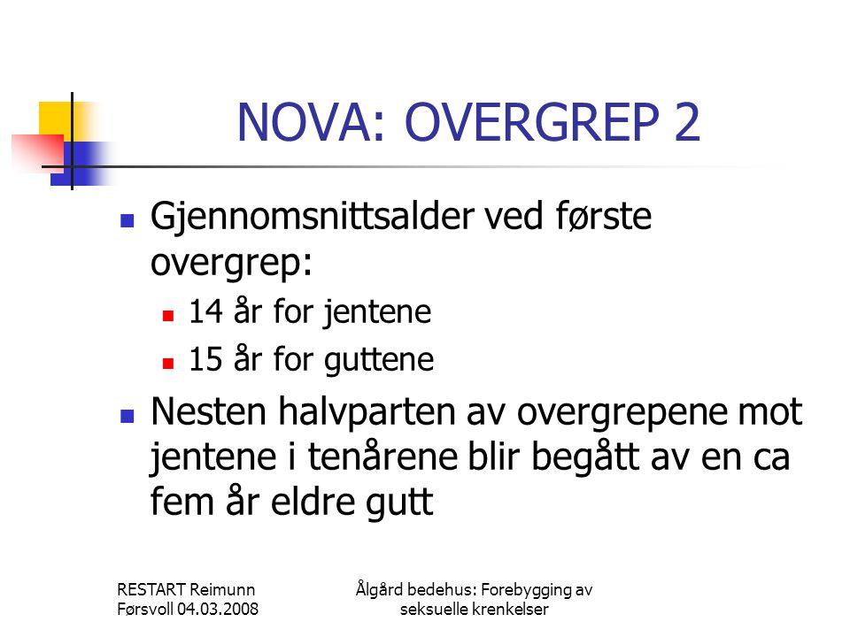 RESTART Reimunn Førsvoll 04.03.2008 Ålgård bedehus: Forebygging av seksuelle krenkelser NOVA: OVERGREP 2  Gjennomsnittsalder ved første overgrep:  1