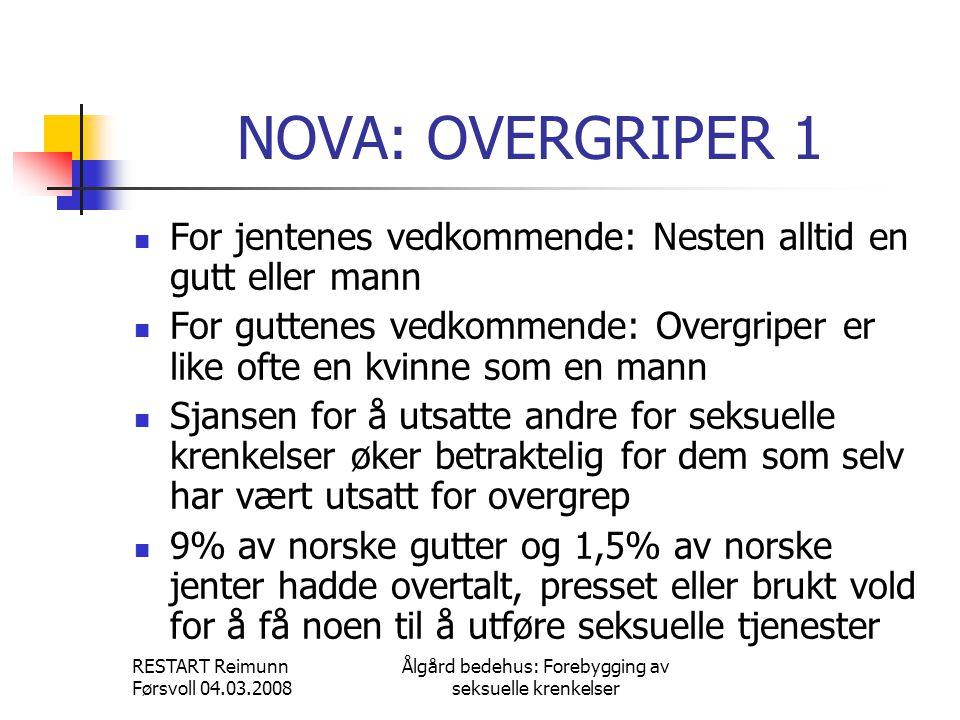 RESTART Reimunn Førsvoll 04.03.2008 Ålgård bedehus: Forebygging av seksuelle krenkelser NOVA: OVERGRIPER 1  For jentenes vedkommende: Nesten alltid e