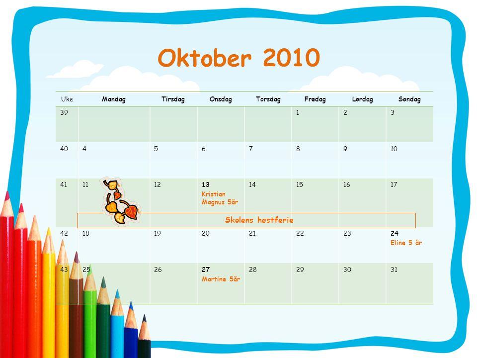 Oktober 2010 UkeMandagTirsdagOnsdagTorsdagFredagLørdagSøndag 39123 4045678910 41111213 Kristian Magnus 5år 14151617 4218192021222324 Eline 5 år 432526