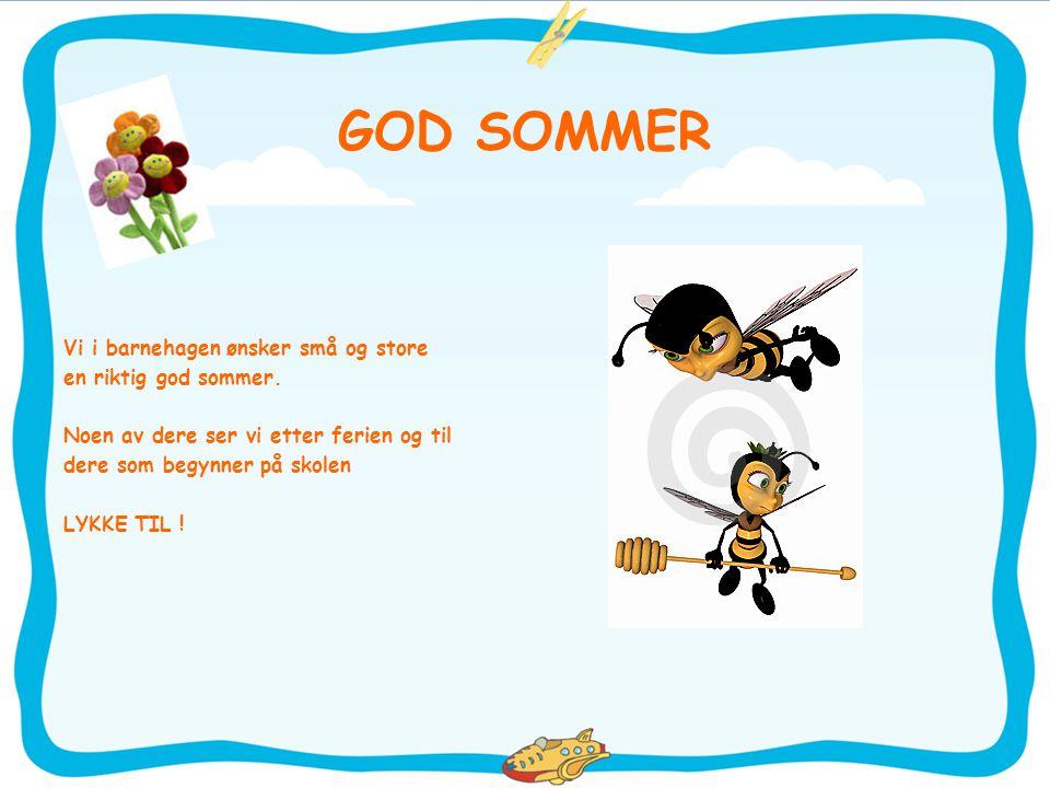 GOD SOMMER Vi i barnehagen ønsker små og store en riktig god sommer. Noen av dere ser vi etter ferien og til dere som begynner på skolen LYKKE TIL !