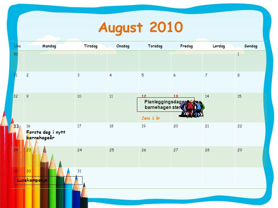 August 2010 UkeMandagTirsdagOnsdagTorsdagFredagLørdagSøndag 301 312345678 329101112 Jens 1 år 13 – 1415 33 16 Første dag i nytt barnehageår 1718192021