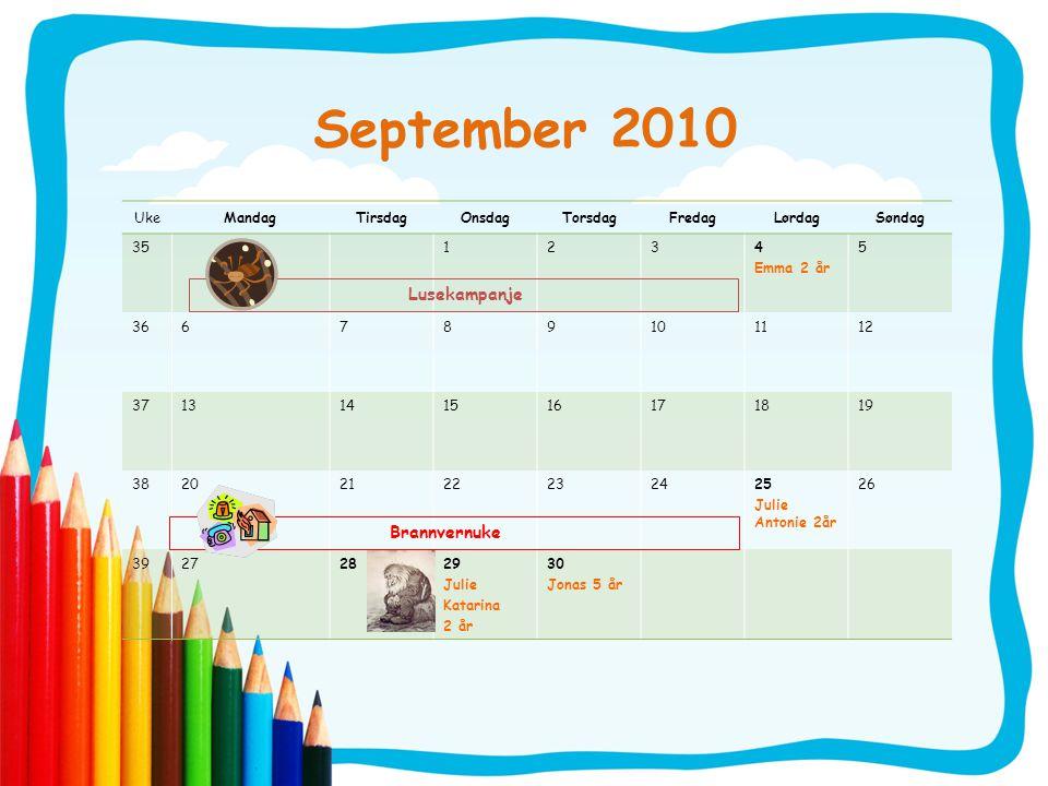 September 2010 UkeMandagTirsdagOnsdagTorsdagFredagLørdagSøndag 351234 Emma 2 år 5 366789101112 3713141516171819 38202122232425 Julie Antonie 2år 26 39