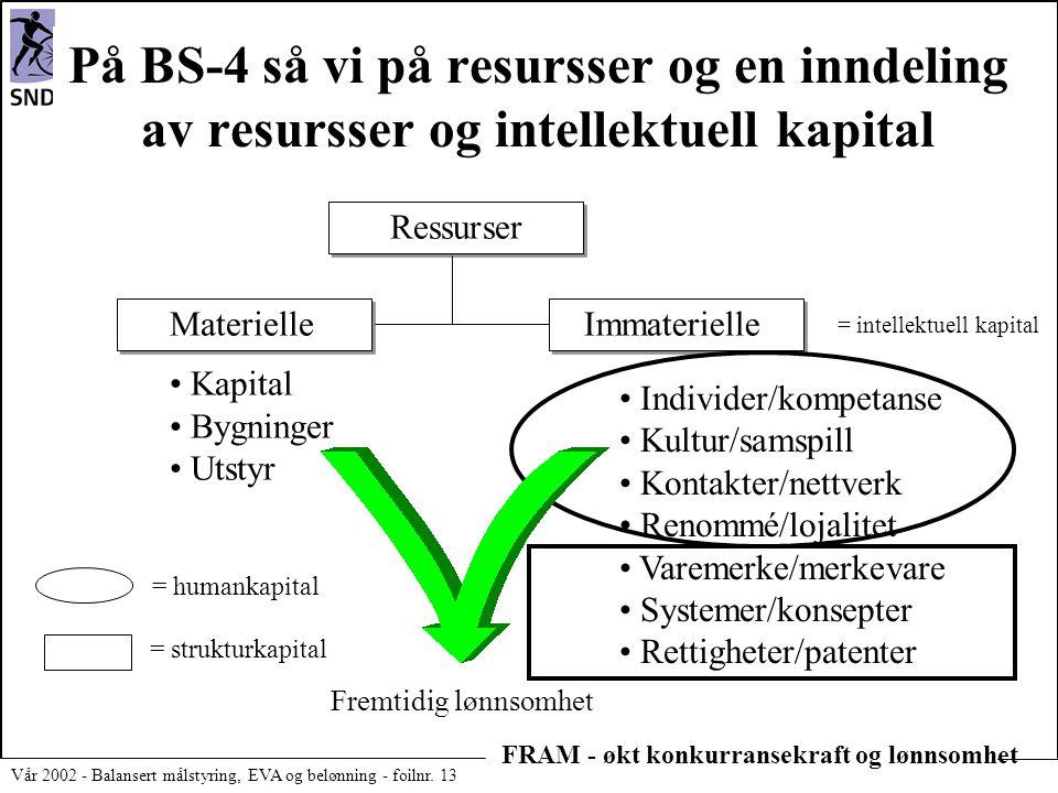 FRAM - økt konkurransekraft og lønnsomhet Vår 2002 - Balansert målstyring, EVA og belønning - foilnr. 13 På BS-4 så vi på resursser og en inndeling av