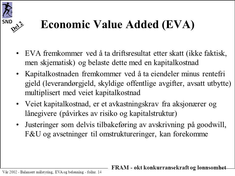 FRAM - økt konkurransekraft og lønnsomhet Vår 2002 - Balansert målstyring, EVA og belønning - foilnr. 14 Economic Value Added (EVA) •EVA fremkommer ve