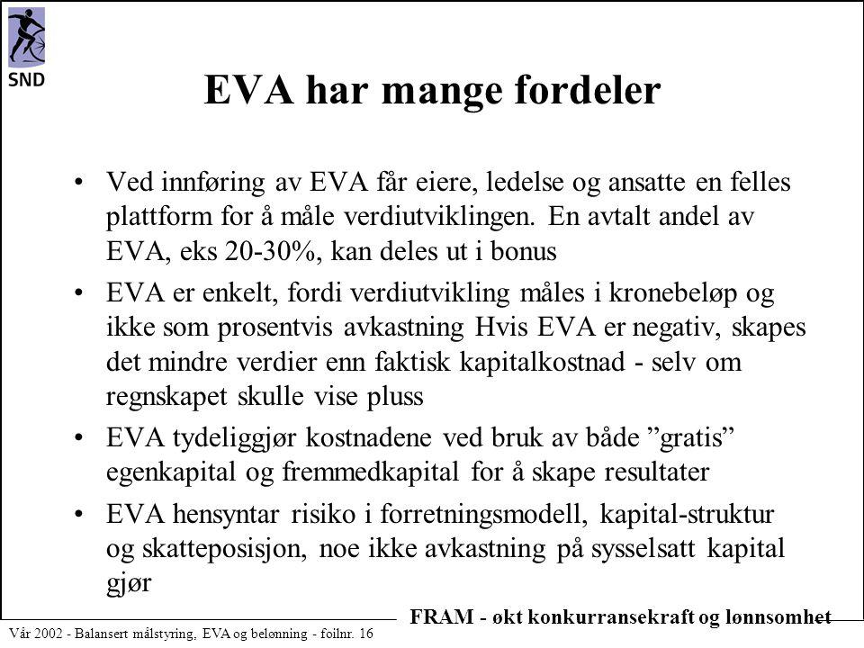FRAM - økt konkurransekraft og lønnsomhet Vår 2002 - Balansert målstyring, EVA og belønning - foilnr. 16 EVA har mange fordeler •Ved innføring av EVA