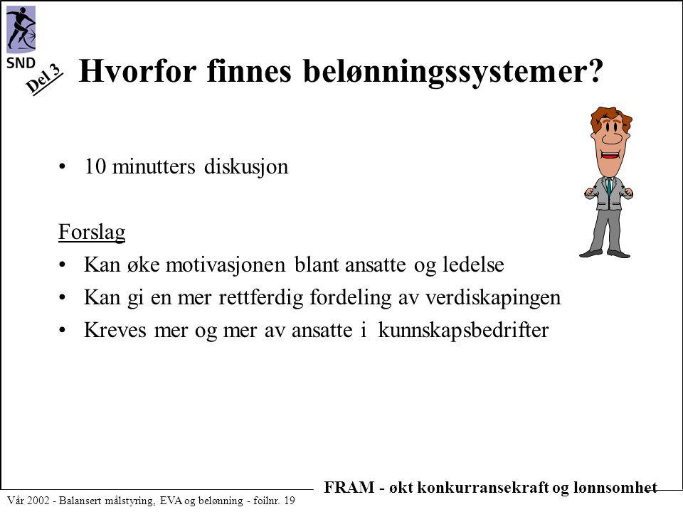 FRAM - økt konkurransekraft og lønnsomhet Vår 2002 - Balansert målstyring, EVA og belønning - foilnr. 19 Hvorfor finnes belønningssystemer? •10 minutt