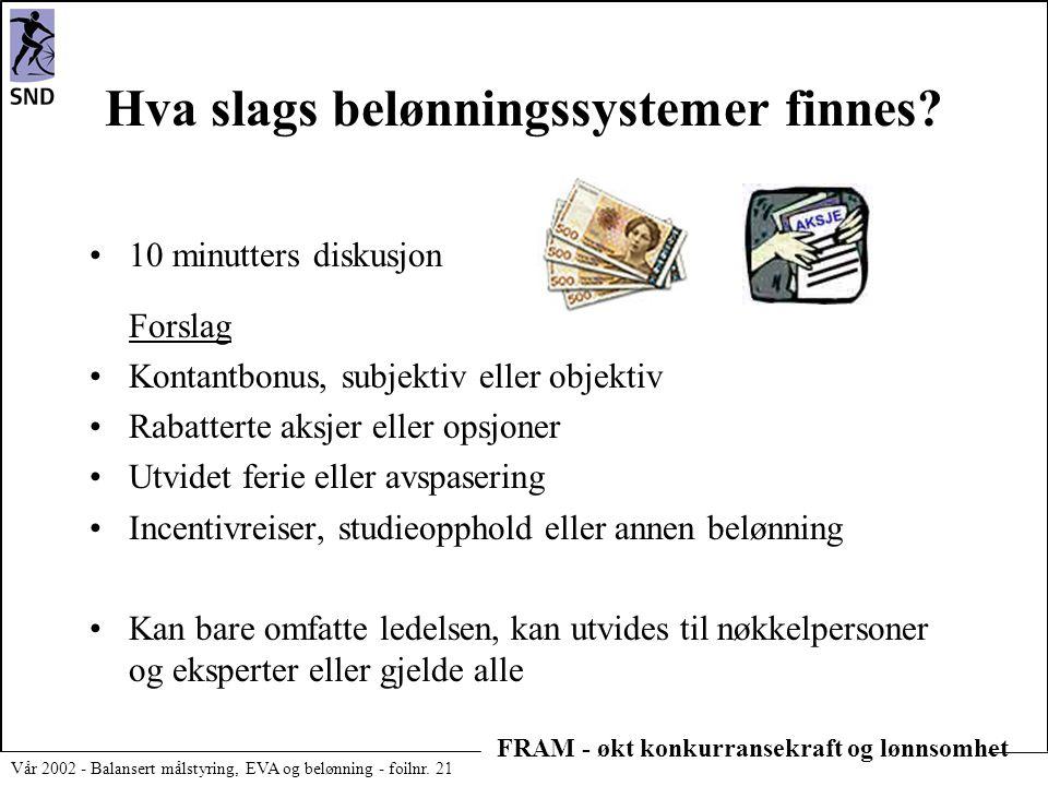 FRAM - økt konkurransekraft og lønnsomhet Vår 2002 - Balansert målstyring, EVA og belønning - foilnr. 21 Hva slags belønningssystemer finnes? •10 minu