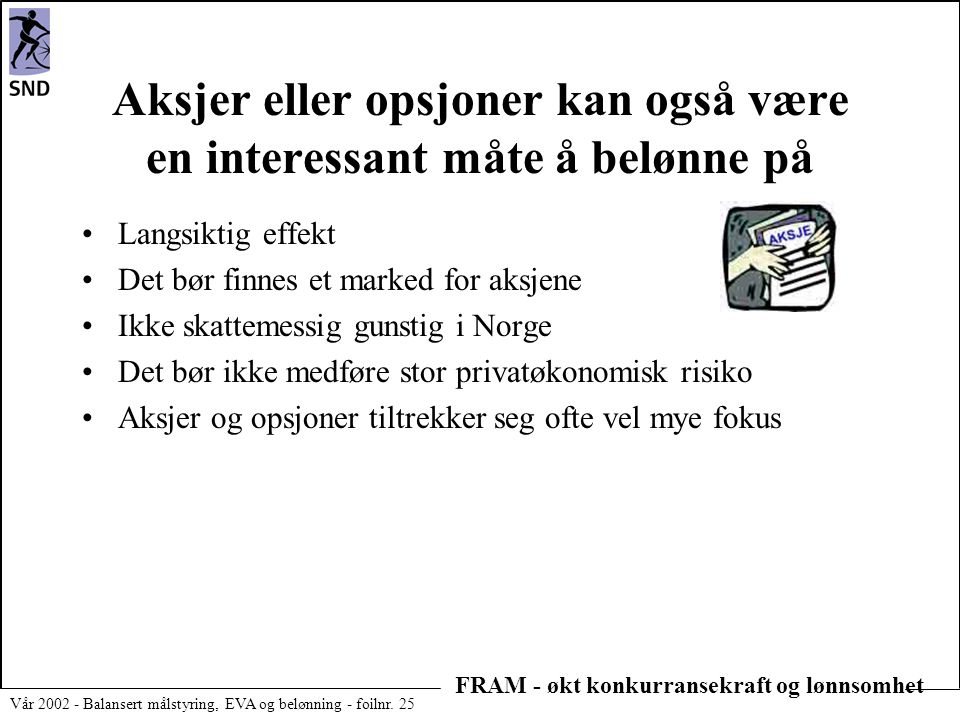 FRAM - økt konkurransekraft og lønnsomhet Vår 2002 - Balansert målstyring, EVA og belønning - foilnr. 25 Aksjer eller opsjoner kan også være en intere