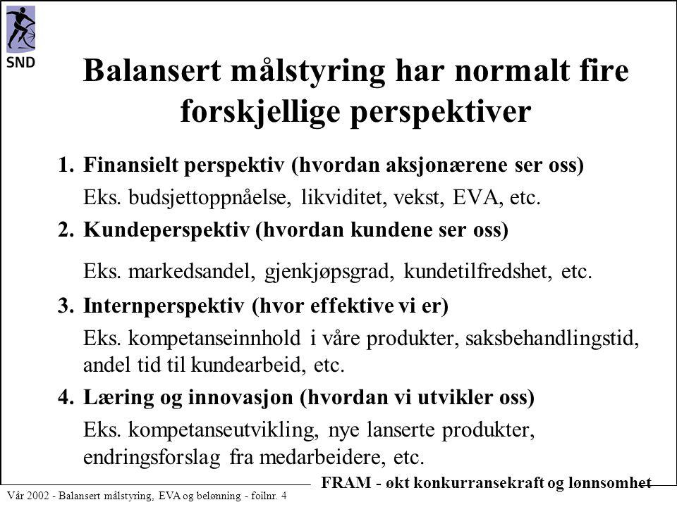 FRAM - økt konkurransekraft og lønnsomhet Vår 2002 - Balansert målstyring, EVA og belønning - foilnr. 4 Balansert målstyring har normalt fire forskjel