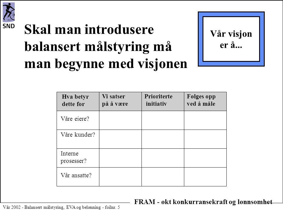 FRAM - økt konkurransekraft og lønnsomhet Vår 2002 - Balansert målstyring, EVA og belønning - foilnr. 5 Skal man introdusere balansert målstyring må m