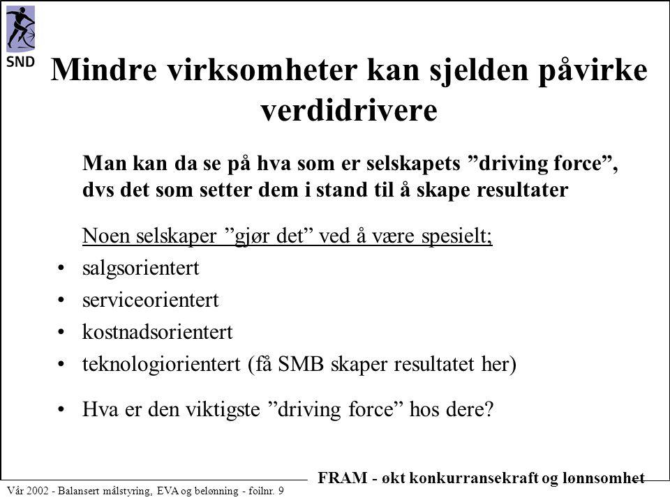 FRAM - økt konkurransekraft og lønnsomhet Vår 2002 - Balansert målstyring, EVA og belønning - foilnr. 9 Mindre virksomheter kan sjelden påvirke verdid