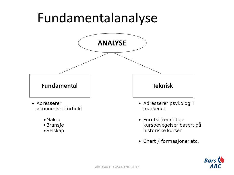Fundamentalanalyse ANALYSE FundamentalTeknisk •Adresserer psykologi i markedet •Forutsi fremtidige kursbevegelser basert på historiske kurser •Chart /