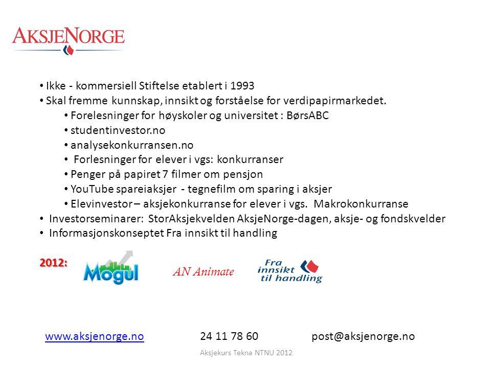 Aksjekurs Tekna NTNU 2012 Månedlig sparing i lang tid er noe av det mest fornuftige og lønnsomme man kan drive med.