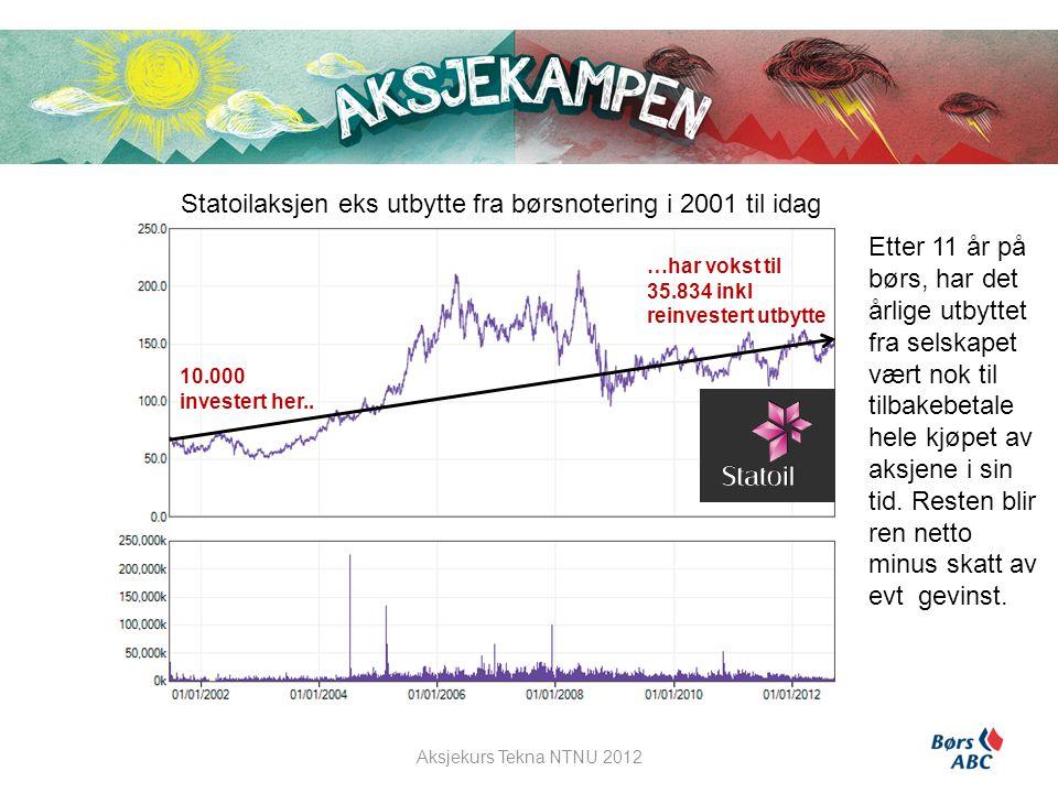 Statoilaksjen eks utbytte fra børsnotering i 2001 til idag Etter 11 år på børs, har det årlige utbyttet fra selskapet vært nok til tilbakebetale hele