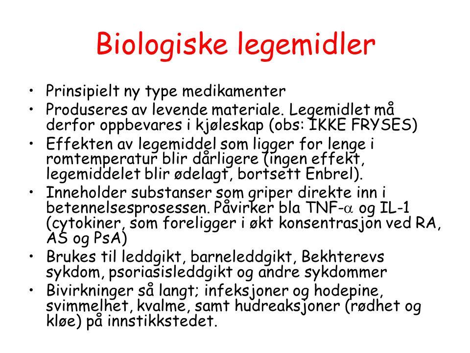 Biologiske legemidler •Prinsipielt ny type medikamenter •Produseres av levende materiale.