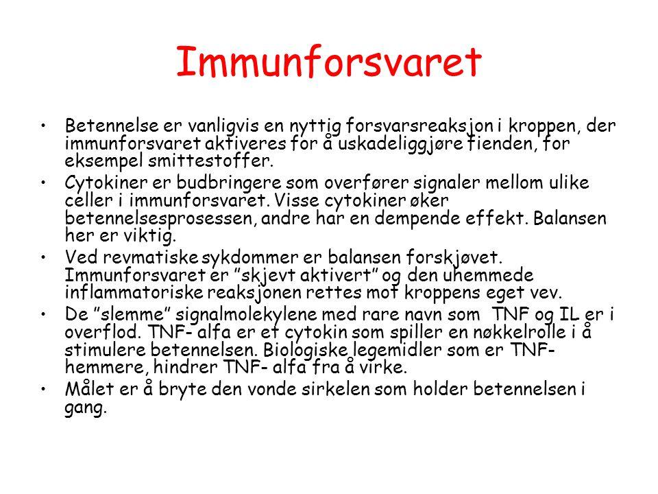 Immunforsvaret •Betennelse er vanligvis en nyttig forsvarsreaksjon i kroppen, der immunforsvaret aktiveres for å uskadeliggjøre fienden, for eksempel
