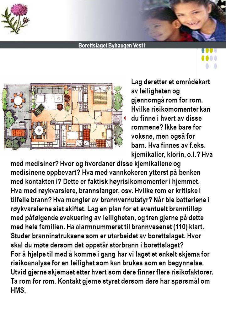 Lag deretter et områdekart av leiligheten og gjennomgå rom for rom. Hvilke risikomomenter kan du finne i hvert av disse rommene? Ikke bare for voksne,