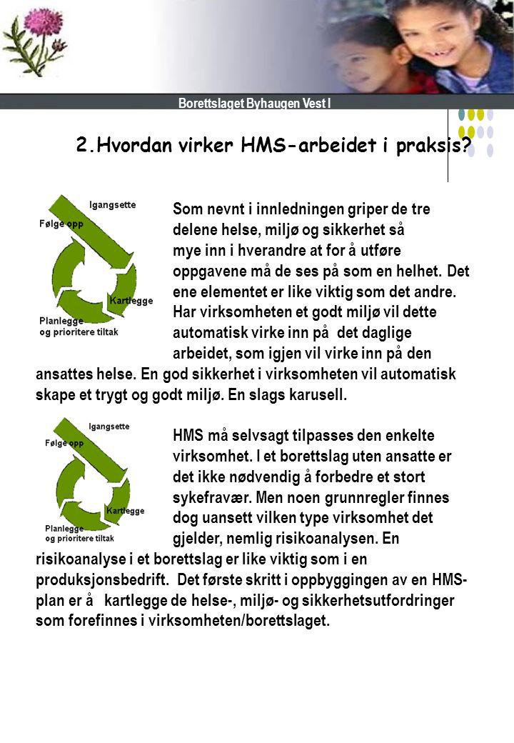 2.Hvordan virker HMS-arbeidet i praksis? Borettslaget Byhaugen Vest I Som nevnt i innledningen griper de tre delene helse, miljø og sikkerhet så mye i