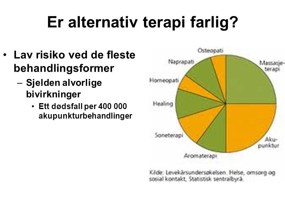 Bivirkningsmeldinger på naturmidler •Trolig underrapportering –2004: 27 (ett dødsfall) –2005: 36 –2006: 29 –2007: 30 –2008: 35 (to dødsfall) –2009: 52 –2010:29 •Hva kan gjøres.