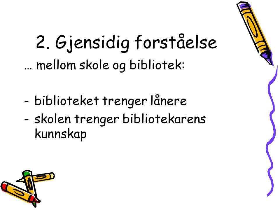 2. Gjensidig forståelse … mellom skole og bibliotek: -biblioteket trenger lånere -skolen trenger bibliotekarens kunnskap