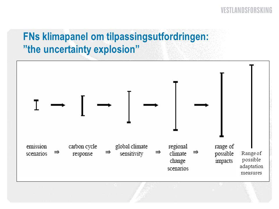 "FNs klimapanel om tilpassingsutfordringen: ""the uncertainty explosion"" Range of possible adaptation measures"